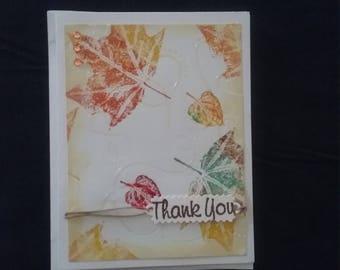 Autumn leaf Thank You Card. Blank inside.