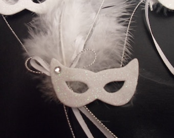 Masquerade Masks - (12) Miniature White Foam Masks with White Feathers- Small Mardi Gras Masks - Masquerade Party