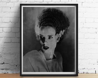 1935 Bride Of FRANKENSTEIN Art Print, Vintage Halloween Wall Art Decor, Black White Chalkboard Vintage Horror Poster Gothic Dorm Decor