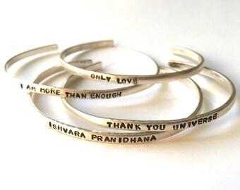 Stamped Intentions / Silver Cuff / Mantra Cuff / Personalized Cuff / Dainty Cuff Bracelet / Sterling Silver Cuff Bracelet / Quote Bracelet