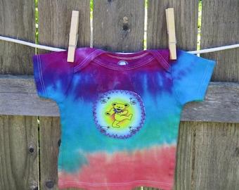 6-9 MONTHS DANCING BEAR Tie Dye,  Get Down Upcycled Dancing Bear Grateful Dead Inspired