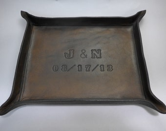 Third Anniversary Gift - Personalized Leather Tray