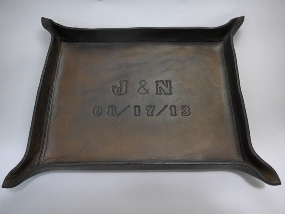Gift For 3rd Wedding Anniversary: Third Anniversary Gift Personalized Leather Tray