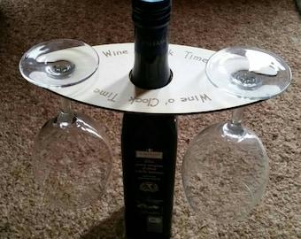 Wooden Wine Butler/Holder for Holding Two Wine Glasses