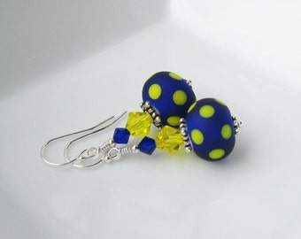 Cobalt Blue and Yellow Lampwork earrings In sterling silver