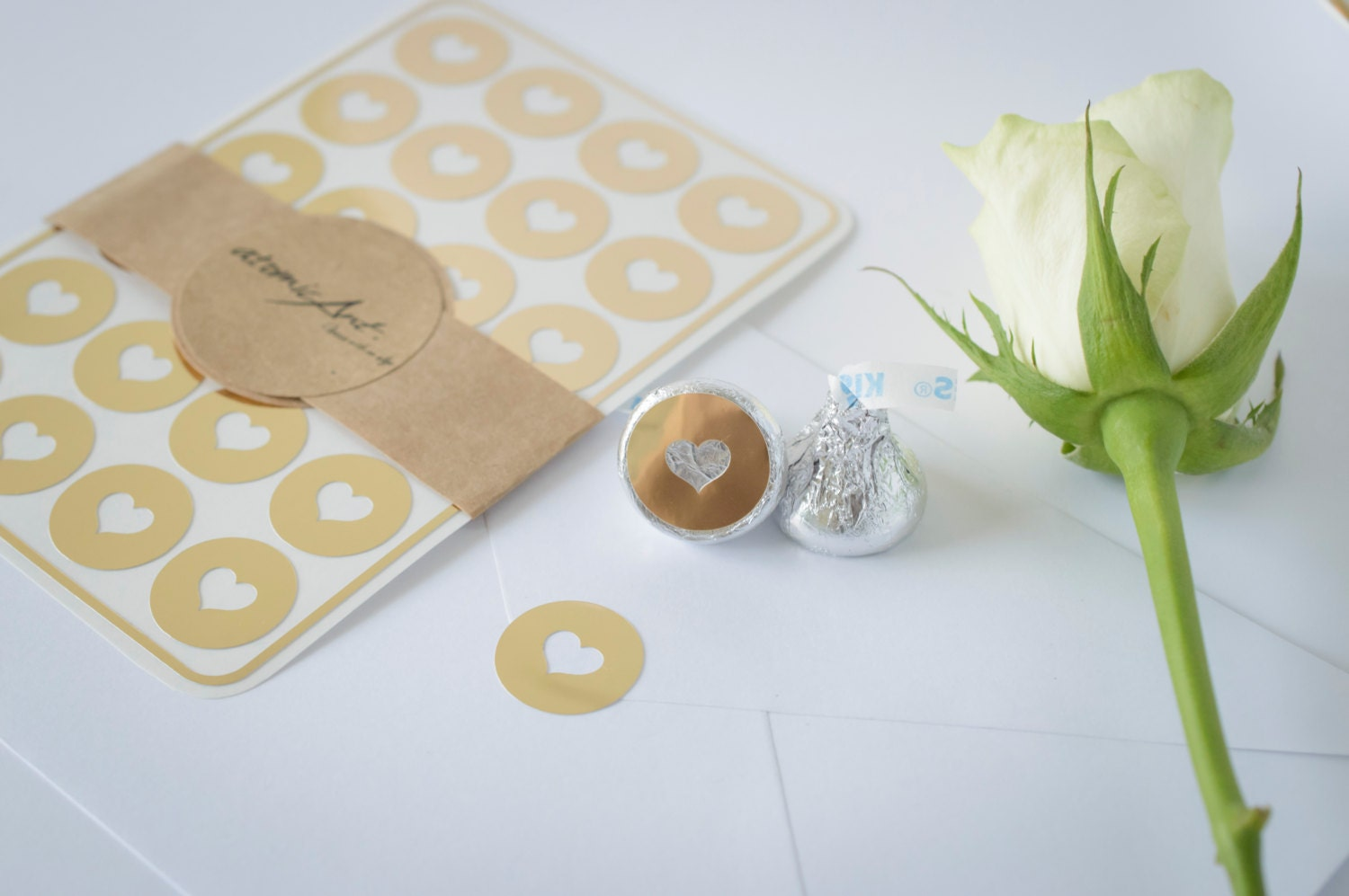 24 Envelope Seals in Gold Foil - Handmade Heart Stickers - Wedding ...