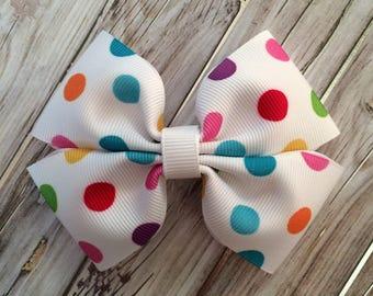 Rockin' Rainbow Dot Handmade Bow