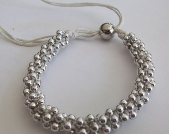 Special  Listing for Molly Dodson  Braided Silver  Beaded   Bracelets
