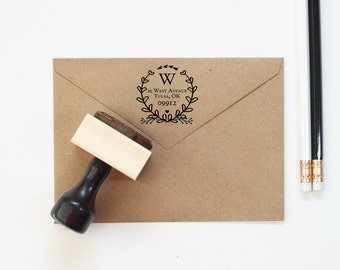 Return Address Stamp Personalized Floral Wreath Rubber Stamp Rustic Wedding Invitation Stamp Save the Date Stamp Address Label Wedding Gift