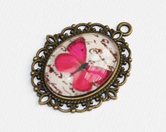 2 Butterfly picture pendant, butterfly picture cabochon, antique brass pendant, zinc alloy pendant 30x21mm Pink