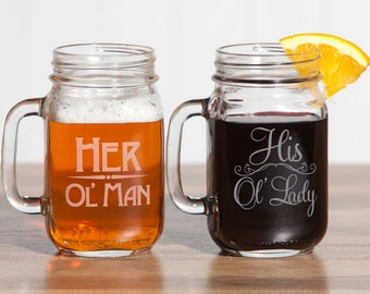 Couples Mugs, Anniversary Gift for him, Wifey Hubby Mugs, Hubby and Wifey Mugs, Old Man Old Lady, Couples Gift Set, Couples Anniversary Gift