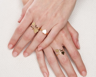gold ring- Gold heart ring- adjustable gold ring- gold Stacking ring- gold filled ring- knuckle ring- dainty tiny ring- delicate jewelry