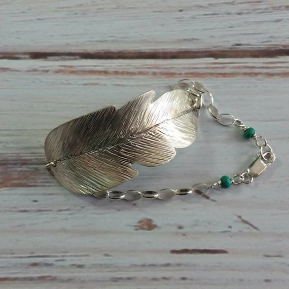 Sterling silver feather bracelet, turquoise, sterling chain, boho