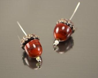 Acorn beads, handmade lampwork forest beads,Glass beads, Artisan lampwork beads, forest beads, Lampwork acorn, glass acorn
