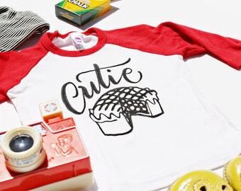 Cutie Pie - Children's Tee Shirt - American Apparel - Size 2 2t - Raglan Sleeve - Original Designs by DearSeed - Dear Seed Kids T-shirt