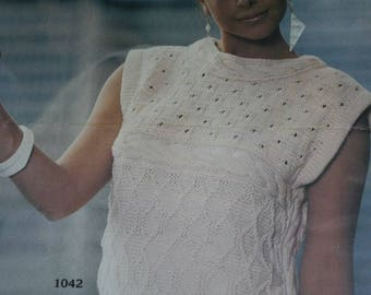 Summer Sweater Knitting Pattern Women Tessan 23 Sizes 34 to 44 Inches English French Vintage Paper Original NOT a pdf