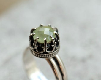 Prehnite ring size 6.25 or made to order, sterling silver ring with mint green gemstone, crown ring, princess ring
