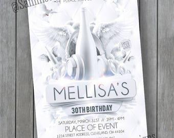 All White Birthday Invitation - All White Birthday Party - All White Party - Milestone Birthday - Milestone
