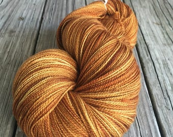 hand dyed lace weight yarn But Why Is the Rum Gone Silk Treasures Lace yarn merino silk 875 yards hand dyed yarn spiced rum gold rust auburn