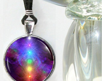 "Chakra Art Rainbow Jewelry, Reiki Energy Necklace, Art Pendant ""Chakra Healing'"