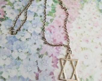Vintage Sterling Silver Star of David Jewish Judaism Pendant and Necklace