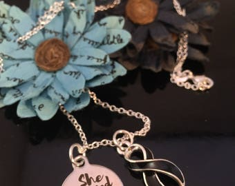She Believed She Could So She Did Necklace - Melanoma awareness Jewelry - Black Ribbon Charm - Skin Cancer Survivor Gift