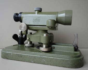 Vintage Swiss Wild Heerbrugg theodolite level original standard base and carry box cover mid century industrial optical precision instrument