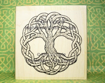 Large Tree of Life Grand Knotwork Rubber Stamp #487