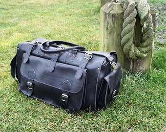 "ON SALE Apollo Weekender Leather Bag/20"" Handmade/Full Grain in Black/Greek Leather/Adjustable Shoulder Straps/Travel Duffel"