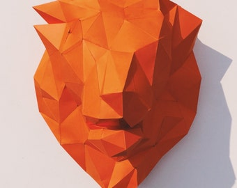Lion Head papercraft model DIY template