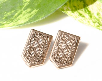 Aztec Style Gold Stud Earrings / Tribal Earrings / Gold Stud Earrings / Shield Earrings / Upcycled Jewellery