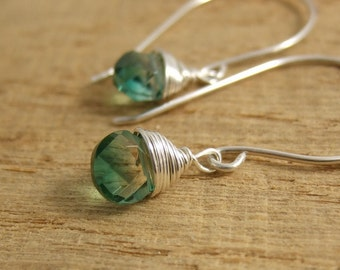 Earrings with Large French Wires and Wire Wrapped Green/Gold Glass Teardrops HE-347