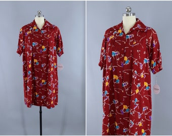 Vintage 1980s Day Dress / 80s Dress / A-Line Maternity Tent Dress / Maroon Red Brown Abstract Print
