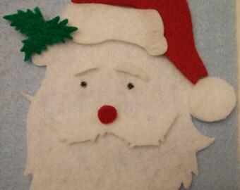 Santa felt ornament - felt board, Christmas activity for toddlers, Kids Christmas gift, felt activity