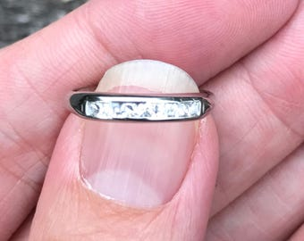 ART DECO Classic Anniversary band or Wedding band or Stacker ring in palladium and Diamonds