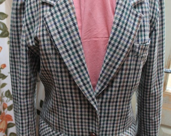 Wool check Country style tailored Jacket REF198