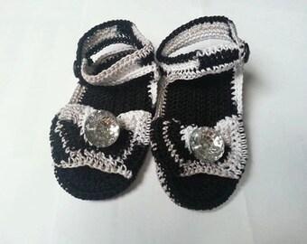 Crochet Black/Silver Baby Sandals