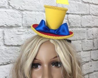 Tweedledum Tweedledee Mini Top Hat, Alice in Wonderland Top Hat, Mad Hatter Mini Top Hat