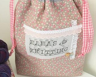 Knitting project bag / Mama's knitting drawstring project bag