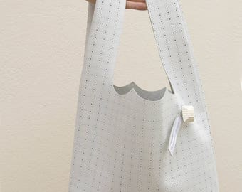 Handbag shoulder bag in genuine White Leather + matching pouch purse made in France by Clafoutisdesign