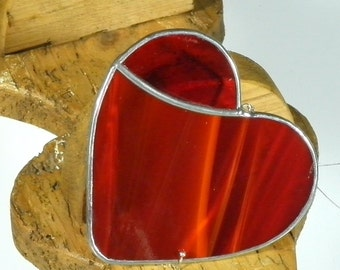 Red Stained glass Heart Suncatcher & Window ornament