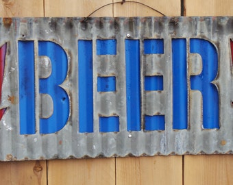 BEER with Arrows Corrugated Metal Sign/Wall Hanging/Bar/Man Cave/Patio/  FREE SHIPPING