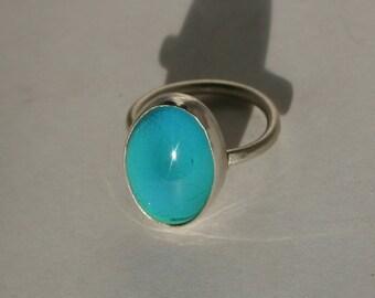 Mood Ring, Silver Mood Ring, Sterling Silver Mood Ring, Mood Rings, Handmade Sterling Silver Smooth Bezel Mood Ring