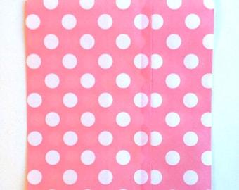 25 Light Pink Polka Dot favor bags / Treat Bags / Wedding Favor Bags / Birthdays /Party Favor Bags / Polka Dot Paper Treat Bag / Bakery Bags