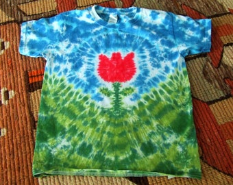 Youth Small Tie Dye T-shirt - Tulip Lane - Red - Ready to Ship