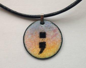 Sunrise Semi Colon Necklace / Semi Colon Pendant Jewelry in copper enamel