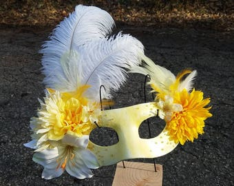 Yellow and White Daisy Flower Feather Masquerade Mask