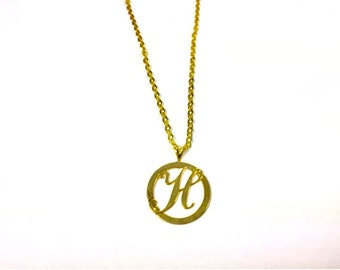 Small Gold Round Initial H Necklace, Personalized Necklace