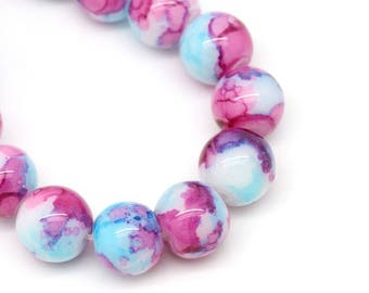 10 glass 10mm round marbled blue fuchsia white Multicolor set M02415 bicolor beads
