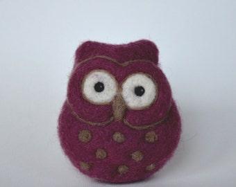 NEEDLE FELTED OWL / Tiny Needle Felted Purple Owl / Made in Maine by Caryn Burwood of Purple Moose Felting